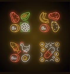 Vitamins neon light icons set b5 b6 b12 natural vector