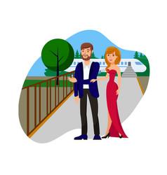 Wealthy couple flat cartoon vector