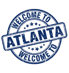 Welcome to atlanta blue round vintage stamp vector