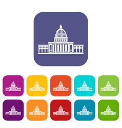 White house icons set flat vector