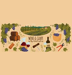 Winery set with vineyard landscapebottle vector