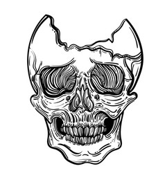 with a human skull gothic vector image