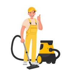 worker cleaning service a man dressed vector image