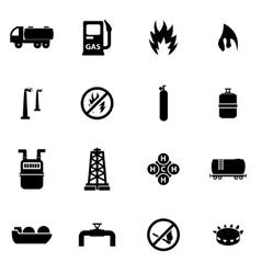 black natural gas icon set vector image