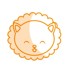 cute shadow lion face cartoon vector image vector image