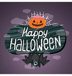 Happy Halloween sign with pumpkin bat web vector image