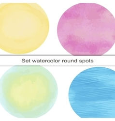 set of bright circular spot watercolor vector image