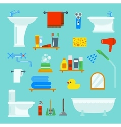 Bathroom and toilet flat style icons vector image