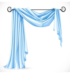 Blue asymmetric curtains on the ledge forged vector image vector image