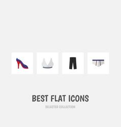 flat icon garment set of pants heeled shoe vector image vector image