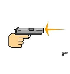 Hand holding gun shooting vector image