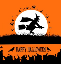 Happy Halloween Background with Spooky Witch on vector image vector image