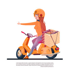 pizza delivery service young girl riding electric vector image
