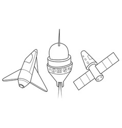 rocket shuttle and spaceship a set of space vector image
