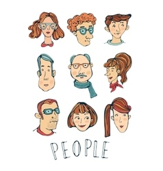 Hand drawn faces collection vector image vector image