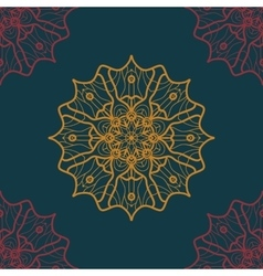 Seamless Print in Oriental Style on deep blue vector image