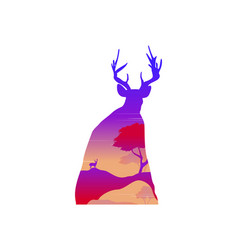 silhouette of a deer at sunset landscape vector image