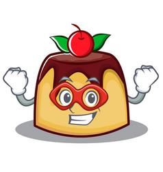 Super hero pudding character cartoon style vector