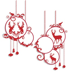 Christmas balls with deers and birds vector image