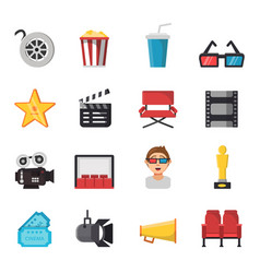icon set of tv show and cinema symbols vector image