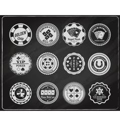 Poker chalkboard labels set vector image vector image