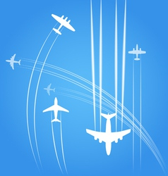 Transport and civil airplanes trajectories vector image