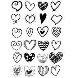 0003 hand drawn scribble hearts vector