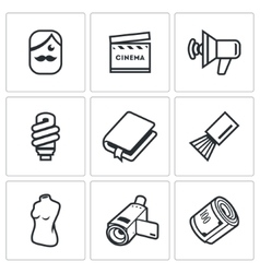Actor and film industry icons set vector image