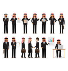 arab businessman characters in action vector image