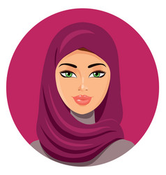 Arab muslim woman on white background in hijab vector