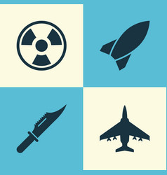 battle icons set collection of aircraft missile vector image vector image