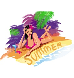 Beautiful sexy woman on the beach vector