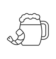 Beer mug with shrimp linear icon vector