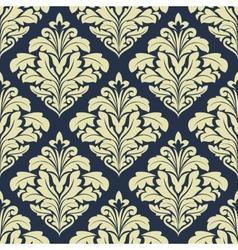 Beige and dark blue seamless damask pattern vector