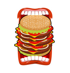 Big hamburger mouth strong hunger great burger vector