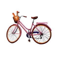 Bike Baguette and Basket vector image
