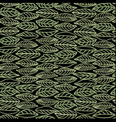 Black pattern with line art leaves vector
