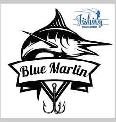 blue marlin fishing logo vector image