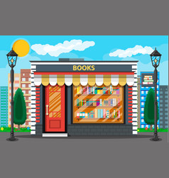 Book shop or store building and cityscape vector