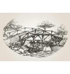Bridge over river sketch vector