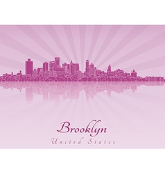 Brooklyn skyline in purple radiant orchid vector