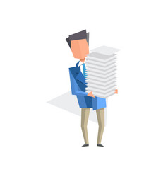 businessman holding pile of office papers and vector image