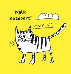 cat walking outdoors sketch vector image