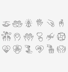 Charity line icon set collection donate vector