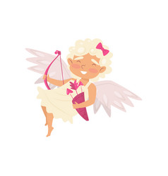 cheerful angel in flying action adorable baby vector image