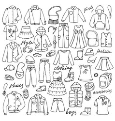 childish clothes and lettering doodle set vector image