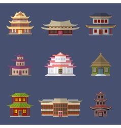 Chinese house icons vector