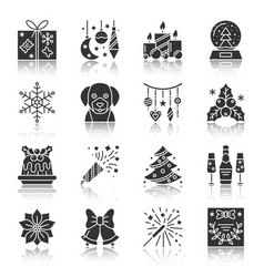 Christmas and new year black silhouette icon set vector