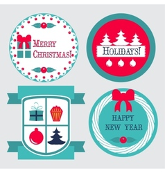 Christmas labels in retro vintage style vector image