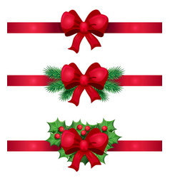 christmas red ribbon and bow decoration vector image